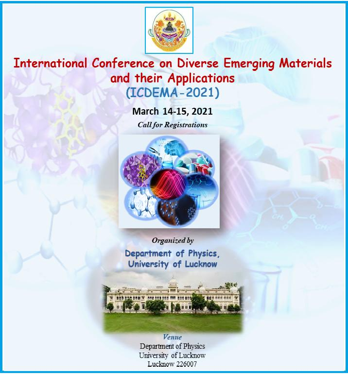 Dept. Of Physics launches call for registration in the International Conference on Diverse Emerging Materials and their Applications. Click here for more information.